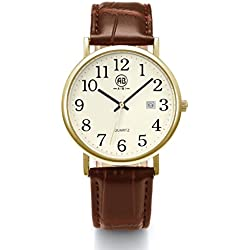 AIBI Waterproof Unisex Watch Brown Leather Strap Arabic Numerals Display White Dial with Date
