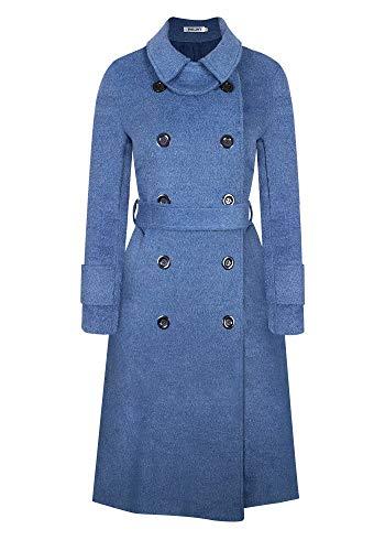BOJIN Trench Cappotto Donna Lungo Cinture Inverno Caldo Confortevole Misto Lana Biue L