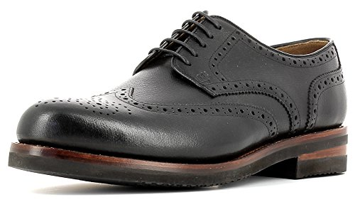 Gordon & Bros Levet 2318 XL Rahmengenähter Herren Derby Schnürhalbschuh, Full Brogue, XL extralight Gummi Sohle für Business, Freizeit, Goodyear welted Schwarz (Black-AL), EU 44 (Herren Gummi-gummi-sohle)