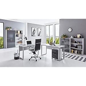 BMG-Moebel.de Büromöbel komplett Set Arbeitszimmer Office Edition in Lichtgrau/Anthrazit Hochglanz (Set 1)