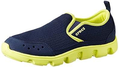 Crocs Men's Duet Sport Sneaker M Navy and Citrus Mesh Sneakers - M12