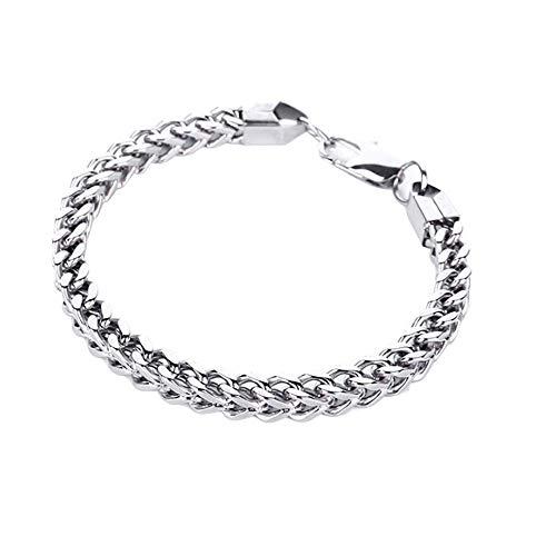 Mypace Silber Gold 925 Armreif Für Damen Herren Edelstahlfrauen drücken Flat Hand Chain Armband mit Titanium Armband