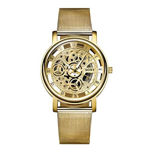 HACKLTT Paar UhrenTop Brand Hohl Silber und Gold Legierung Mesh Gürtel Uhren Liebhaber Quarz Armbanduhren Mode Männer Frauen Armbanduhr Uhr, 1