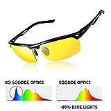 SGODDE Unisex Sportbrille, Polarisiert Sonnenbrille, Nacht Vision Blendschutz Brille, UV400-Schutz Fahrbrille Radbrille mit gelben Gläsern für Damen und Herren (Gelb)