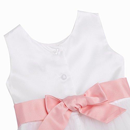Tiaobug Baby Mädchen Kleidung Set aus Kleid+Windeln Hose Abdeckung Neugeborene Taufkleid Partykleid Blumenmädchen Geburtstag Kleider Kurzarm Outfits 0-24 Monate Pearl Pink 62-68/3-6 Monate - 4