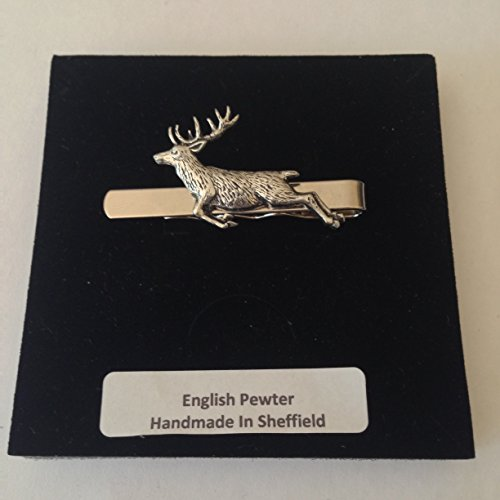 Preisvergleich Produktbild A60 Federnde Hirsch English Pewter Emblem auf einem Krawattenklammer (Slide) handgefertigt in Sheffield kommt mit prideindetails Geschenkbox