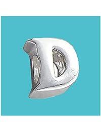 Plata Bead letra D genuino sólido puro 925con sello plata de ley Bead Charm letra inicial alfabeto para Europea Pulsera y cadenas–3d cinta para el/off–Filoro