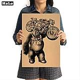 hzcl Adesivi da Parete, Gorilla Moto Retro Painting, Vintage Poster Kraft Carta Pittura Decorativa Carta caffè Barbarte Stampa Immagine 42x30cm