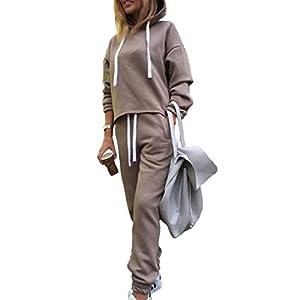 Juleya Sportbekleidung für Frauen Einfarbiger Pullover Anzug Unregelmäßiger mit Kapuze Pullover der Frauen Gesetzte Zweiteiler Kapuzenpulli + Taschenhosen Khaki S-XL