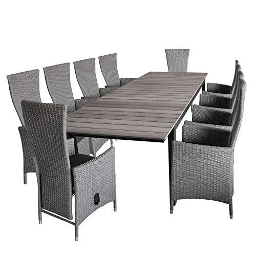 Wohaga 11tlg. Gartengarnitur Gartentisch, Polywood Tischplatte Grau, 160/210/260x95cm + 10x Gartensessel grau-meliert, stufenlos verstellbar, inkl Sitzkissen