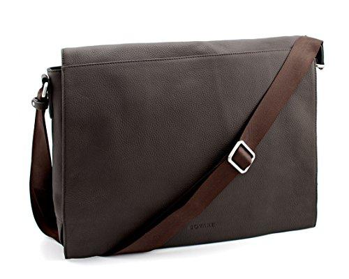Bovari echt Leder Messenger Bag Umhängetasche Schultertasche Laptoptasche Notebooktasche (bis 15,6 Zoll) Model Metz - Herren Damen - 39x31x9 cm - Limited Premium Edition (braun matt)