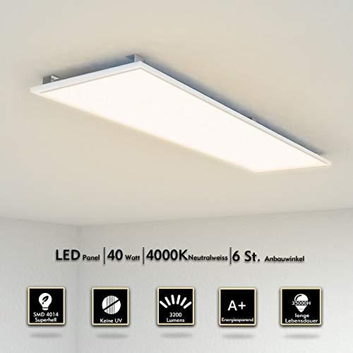 LED Panel Deckenleuchte 120x30 CM 40W 3000-3200 Lumen Wandleuchte Neutralweiß 4000K LED Lampe Ultraslim Einbauleuchte Silberrahmen mit Befestigungsmaterial und Trafo[Energieklasse A+]