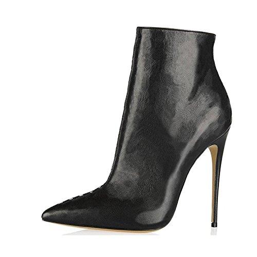 Jushee Booties Stiefeletten für Frauen Kleid Spitzschuh High Heels Schuhe Pumps Schwarz Boots 39 EU (Leder Handgefertigten Stiefel)
