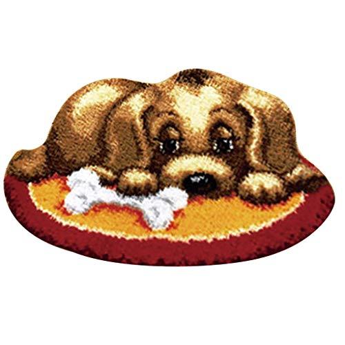 non-brand Knüpfset Teppich Erwachsene, Knüpfteppich zum Selberknüpfen 50x36 cm, Teppich Latch Hook Kit für Kinder und Anfänger - Hund