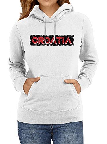 Shirt Happenz Kroatien Weltmeisterschaft 2018#29 Premium Hoodie Fan Trikot Fußball WM Nationalmannschaft Frauen Kapuzenpullover, Farbe:Weiß;Größe:M