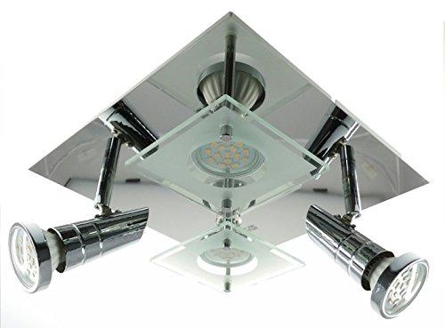 Trango 4-flg. TG3089-6W LED Design Bad Deckenleuchte Deckenlampe in eckig inkl. 4x GU10 LED Leuchtmittel direkt 230V