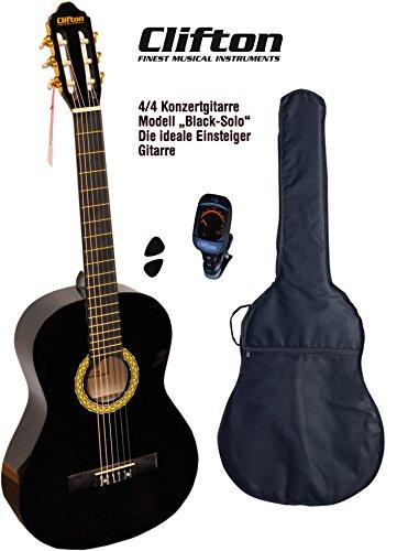 Clifton 4 4 Konzertgitarre Black Solo Digitales Stimmgerät gepolsterte Tasche mit Rückengarniture
