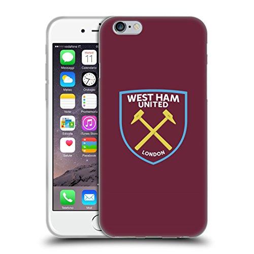 Ufficiale West Ham United FC Colore Pieno 2016/17 Crest Cover Morbida In Gel Per Apple iPhone 6 / 6s Colore Pieno