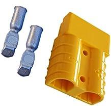 Conjunto de conectores para carretilla elevadora conectores del cable de carga de la batería 50A 10 mm², cable de conexión amarillo