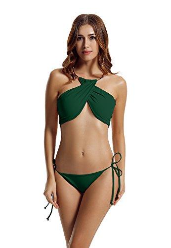 Zeraca Damen Hohe Hals Abgesperrte Krawatte Seite Bikini Badeanzüge Everglade Green