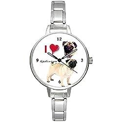 Reloj plateado con diseño de carlino pug