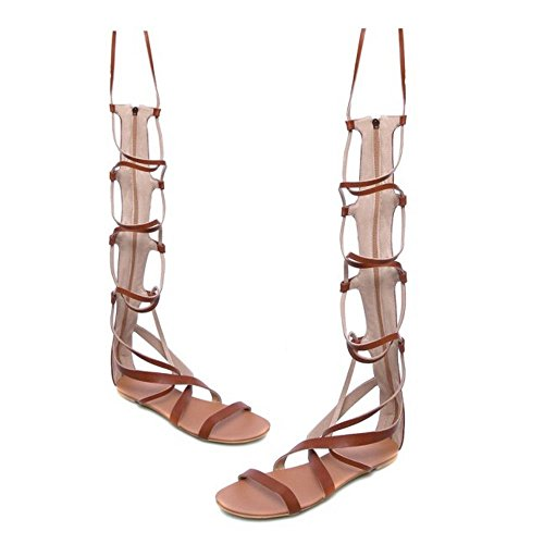 COOLCEPT Hot Sale Mode Femmes Dentelle Knee High Gladiateur Appartements Sandales with Fermeture Eclairs 1172 Marron