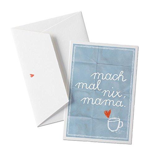 Mach mal nix, mama, Glückwunschkarte für Mütter, Muttertagskarte oder Weihnachtskarte, Gutschein mit Spruch zum Muttertag oder Geburtstag, mit Herz - Umschlag