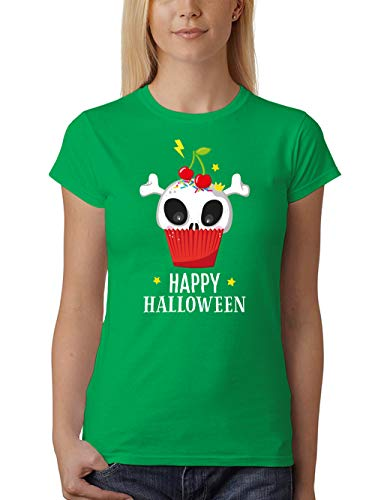 clothinx Damen T-Shirt Fit Halloween Cupcake Grün Größe XL