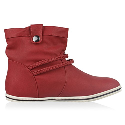Sportliche Damen Stiefeletten Stiefel Flache Boots High & Low Top Rot Low