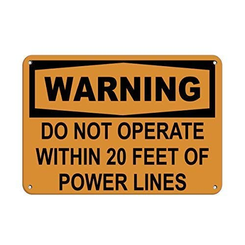 Tin Sign Fashion Warning Do Not Operate Within 20 Feet of Power Lines Metal Sign Wall Plaque for Indoor Outdoor 7.8x11.8 Inch -