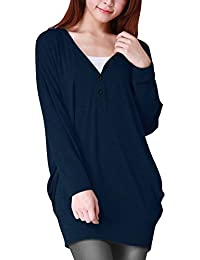 Allegra K Women's V Neck Buttons Decor Long Batwing Sleeve Loose Tunic Blouse Tunic