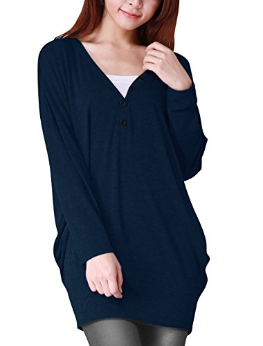 allegra-k-ladies-v-neck-buttons-decor-long-batwing-sleeve-loose-tunic-blouse