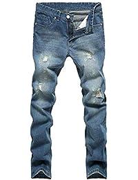 f0daea40d7 Pantalones Vaqueros De Los Hombres Rasgados Jeans Slim Fit RT Blue  Pantalones Vaqueros Lavados De Elástico