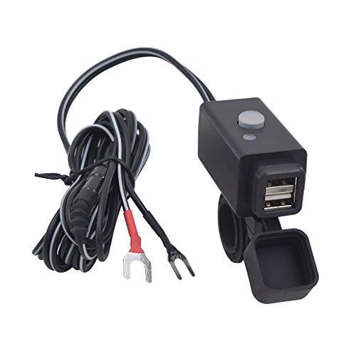 Sharplace Moto Adattatore Doppia Porta USB Caricabatteria Telefono Interuttore Avvio Montaggio Manubrio Accessorio