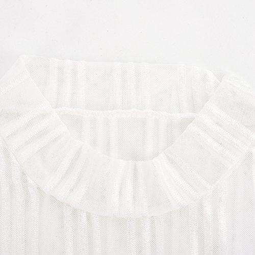 iBaste Damen Streifen Body Langarm Transparent Bodysuit Jumpsuit Unterwäsche Stehkragen Tüllbody Netzbody Weiß