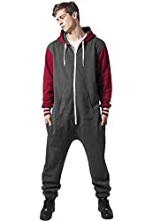 Urban Classics Herren College Sweat Jumpsuit TB629 Regular Fit, Größe M/L, Farbe charcoal/ruby