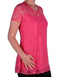 9295d7316df Eyecatch Plus - Evelina Ladies Lined Short Sleeve Stretch Floral Lace Top  Oversize Size 14-