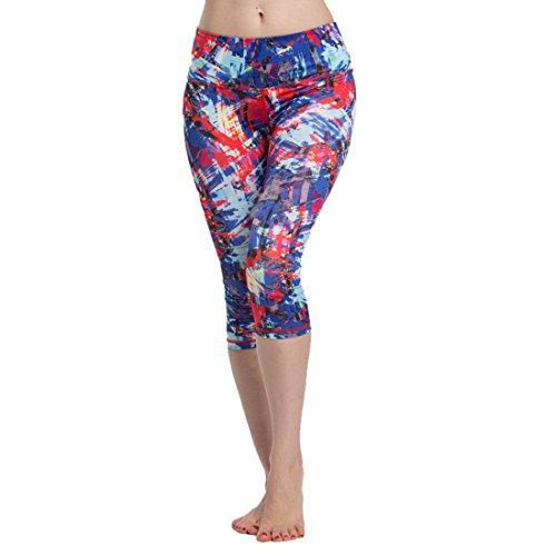 Vertvie Femme Leggings Sport Pantalons Court Extensible Capri Collant Imprimé pour Yoga Fitness Course Jogging Pilates 3/4 Longueur Multicouleur