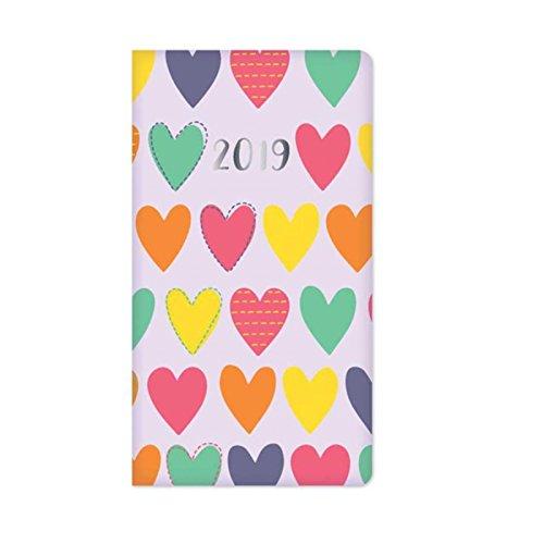 The Home Fusion Company 2019 Fin Contact Doux Loveheart Cœurs Journal Vue par Semaine Sac à Main Taille - Rose