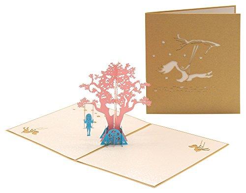 Beauty Mädchen und Swing Pop Up Karten Geburtstag Thank Sie für Frauen, Kinder–handgefertigt 3D Pop up Glückwunschkarte zum Hochzeitstag alle Anlass für Frau Tochter Kinder Mutter Schwester (Mailing Maschine)