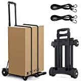 Folding Trolley, U-Kiss Portable Hand Truck with 4-Wheels with 2 Ropes Gfit, Flat Luggage Cart with Telescopic Stainless Steel (L013)