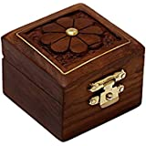 Hashcart Indian Artisan, Handmade & Handcrafted Wooden Jewelry Box/Jewelry Storage Organizer/Trinket Jewelry Box With Traditional Design And Brass Inlay Work