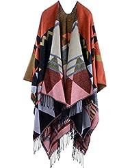 Patrones geométricos de estilo de moda Nepal de las mujeres de gran tamaño gruesa manta bufanda abrigo Poncho chal cabo acogedor imitación cachemira de gran tamaño tartán bufandas regalos ideales para mujer 150 * 130cm , e