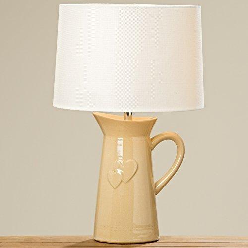 Tischlampe 48cm Porzellan Creme Kanne Herz Schirm Gießkanne Lampe Tischleuchte