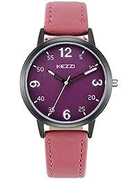 Relojes Mujer con Dial Coloreado, Grande Escala de Números Arábigos Correa de Cuero Relojes de