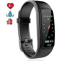 MINLUK Montre Connectée Podomètre Smartwatch Bracelet Connecté Fitness Tracker d'Activité Ecran Coloré Etanche IP67 avec Suivi de Fréquence Cardiaque, Sommeil, Calories etc. pour iPhone Android (Noir)