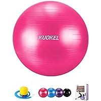 KUOKEL Pelota de Ejercicio para Fitness 65cm Bola de Yoga y Entrenamiento de Gimnasia Deportiva con Bomba de inflado para Yoga Pilates y Crossfit (Rosa)