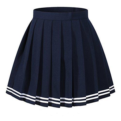 Frauen beiläufige hohe Taille gefaltetes Kostüme Röcke, Dark Blau with Weiß striper, Taille(75cm/31inch)