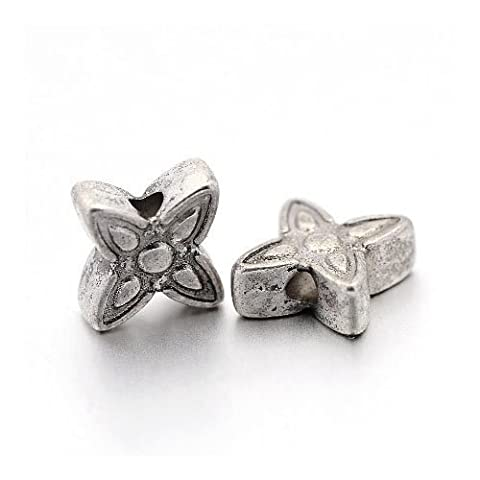Packet of 50+ Antique Silver Tibetan 7mm Flower Spacer Beads - (HA17890) - Charming Beads