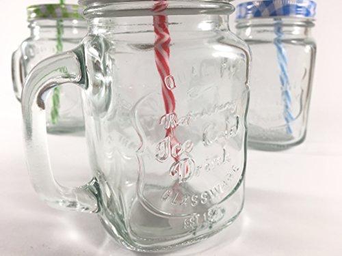 4 Stk _ Henkelglas - Gläser mit Deckel & Strohhalm - bunte Farben & Punkte - Trinkbecher als